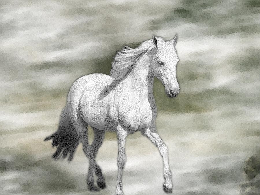 White Horse Watercolor by Sajjad Musavi