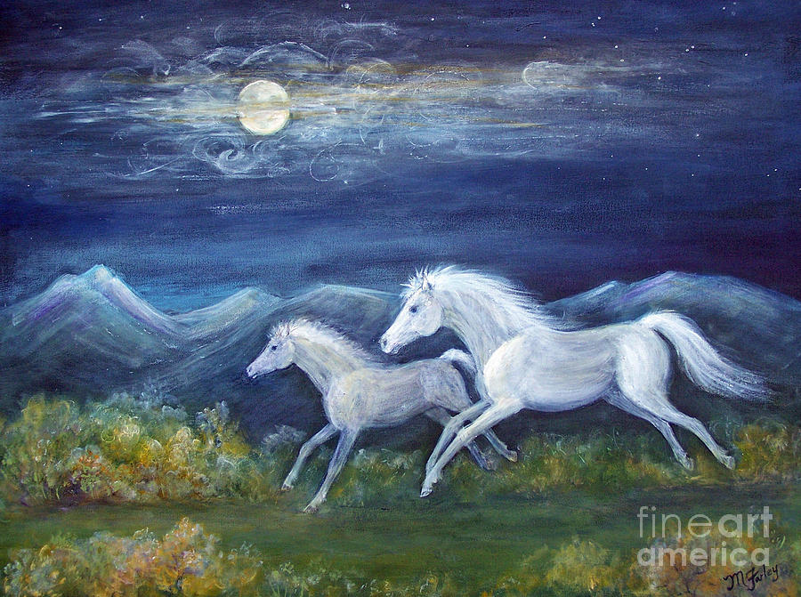 White Horses In Moonlight Painting  - White Horses In Moonlight Fine Art Print