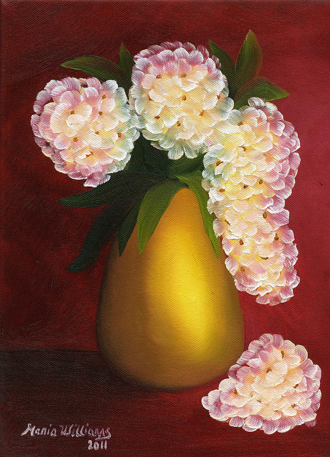 White Hydrangeas In A Golden Vase Painting  - White Hydrangeas In A Golden Vase Fine Art Print
