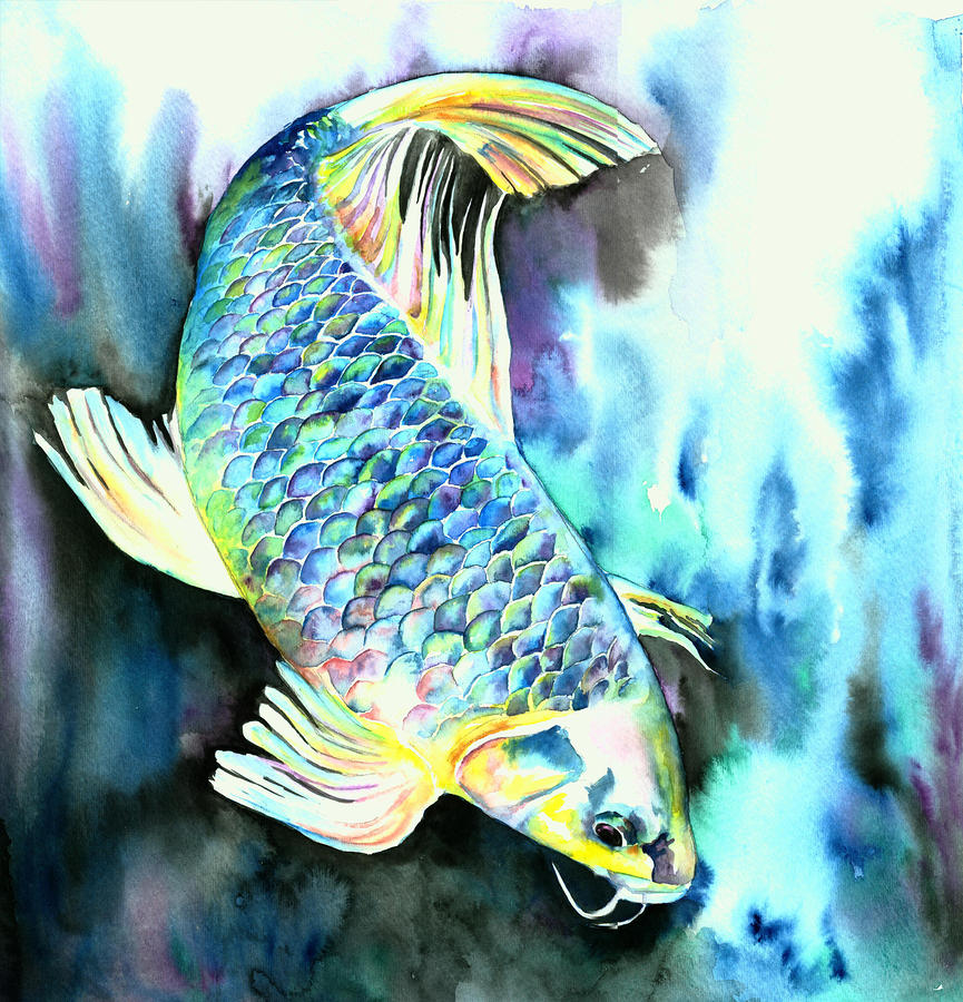 White japanese carp by christy freeman for Japanese koi carp paintings