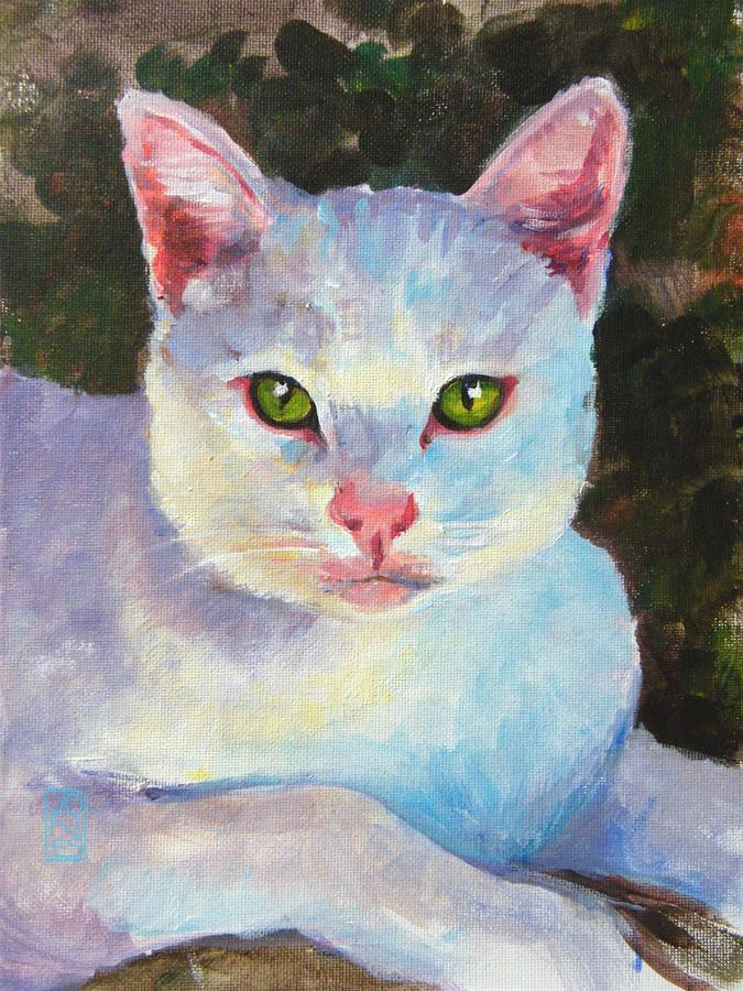 White Kitty Painting  - White Kitty Fine Art Print