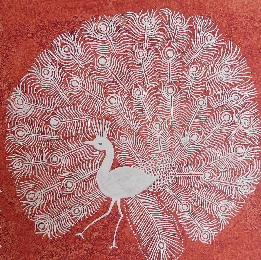 White Peacock Dance- Original Warli Painting Painting