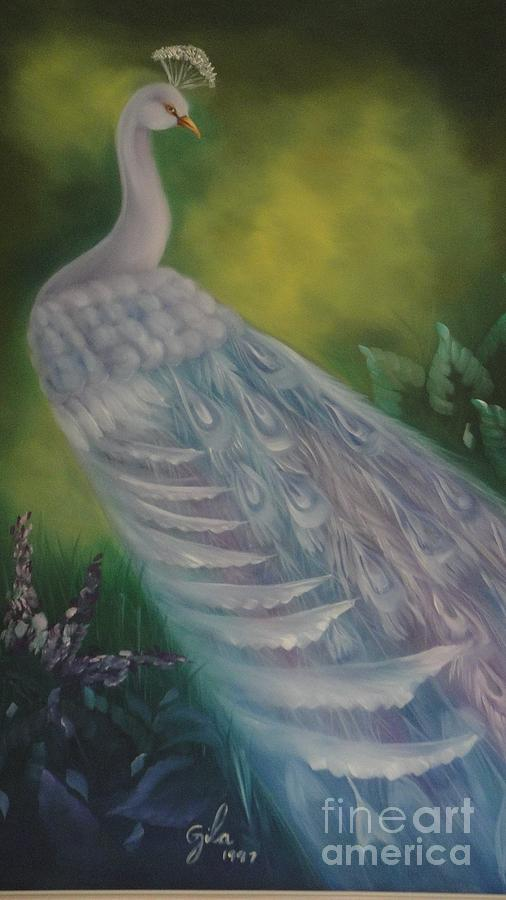 White Peacock Painting  - White Peacock Fine Art Print