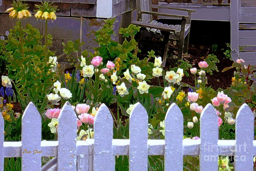 White Picket Fence With Flowers Cards  Greeting amp Photo