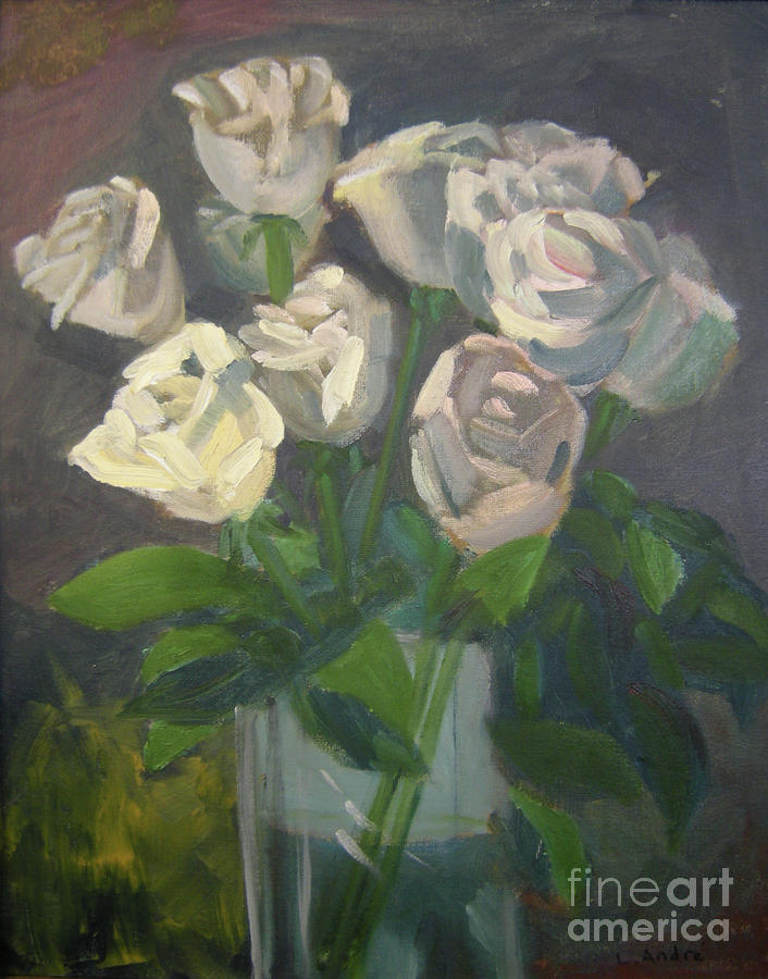 Floral Painting - White Roses by Lilibeth Andre