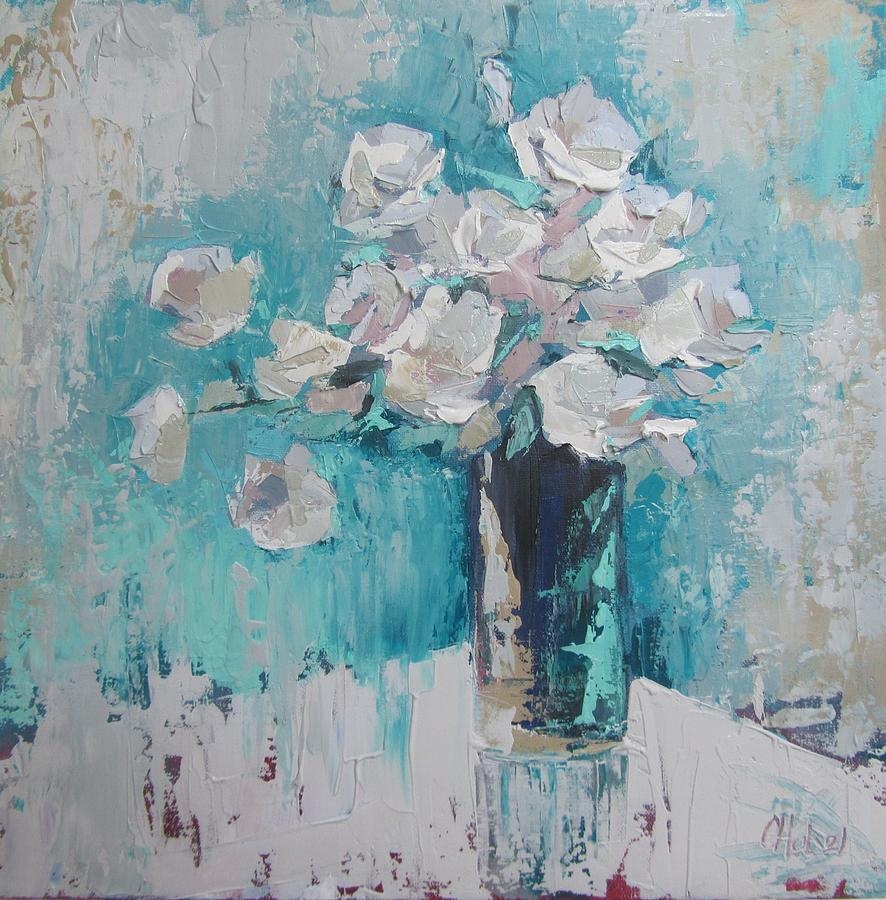white roses palette knife acrylic painting by chris hobel