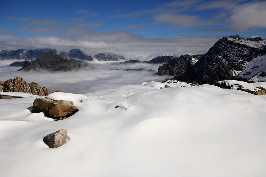 Clouds Gavarnie Pyrenees France Mountain National Park Snow Hiking Climbing  Photograph - White Sea by Frederic Vigne