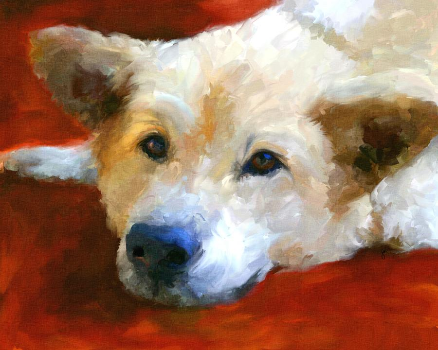 White Shepherd Portrait Painting  - White Shepherd Portrait Fine Art Print