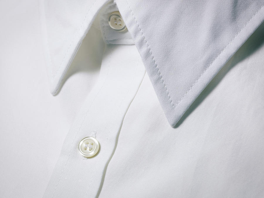 White Shirt Collar Detail. Photograph
