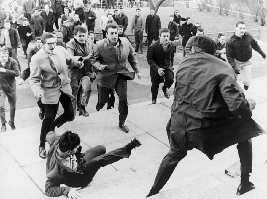 White Students Running Toward An Photograph