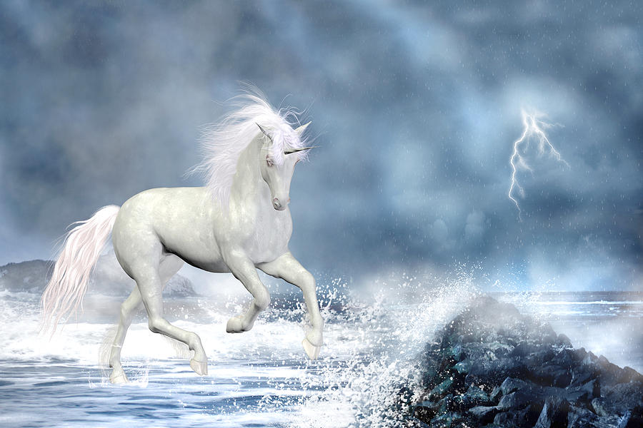 White Unicorn Digital Art  - White Unicorn Fine Art Print