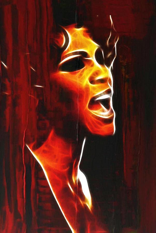 Whitney Houston Tears Abstract Famous Star Painting Cry Crying Sing Singing Singer Painting - Whitneys Tears by Stefan Kuhn