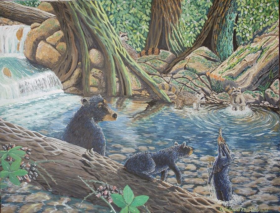 Bear And Cub's Painting - Whos Got Who by Carey MacDonald