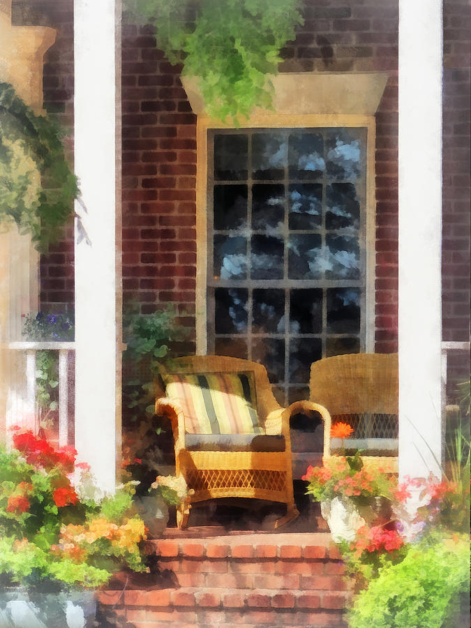 Wicker Chair With Striped Pillow Photograph  - Wicker Chair With Striped Pillow Fine Art Print