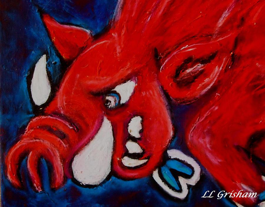 Arkansas Razorbacks Painting - Wild Hog by Laura  Grisham