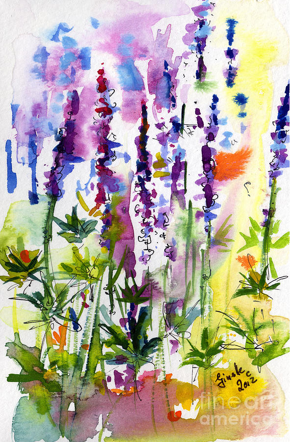 Wild Lupines Watercolor By Ginette Painting  - Wild Lupines Watercolor By Ginette Fine Art Print