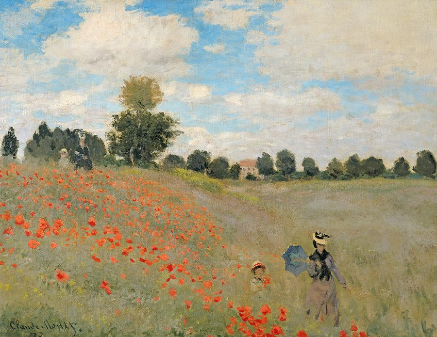 Wild Poppies Near Argenteuil Painting  - Wild Poppies Near Argenteuil Fine Art Print