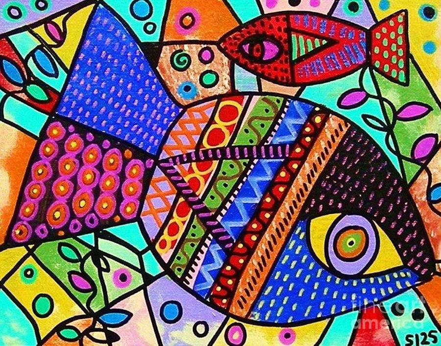 Wild Tribal Peacock Fish Painting By Sandra Silberzweig