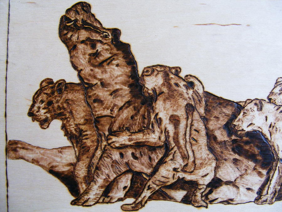 wildlife Africa-wood carving pyrography Pyrography