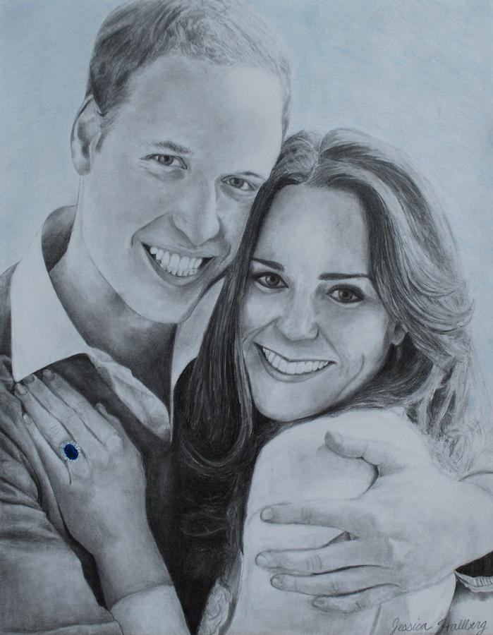 William And Kate Drawing  - William And Kate Fine Art Print
