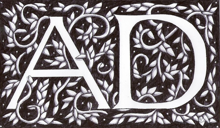 William Morris Initials A D Drawing