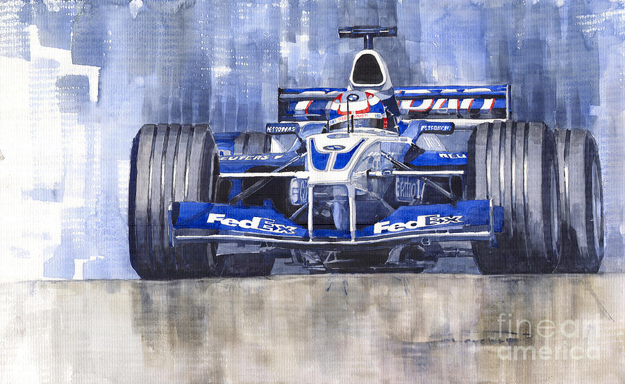 Williams Bmw Fw24 2002 Juan Pablo Montoya Painting  - Williams Bmw Fw24 2002 Juan Pablo Montoya Fine Art Print