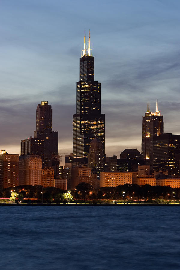 Willis Tower At Dusk Aka Sears Tower Photograph  - Willis Tower At Dusk Aka Sears Tower Fine Art Print