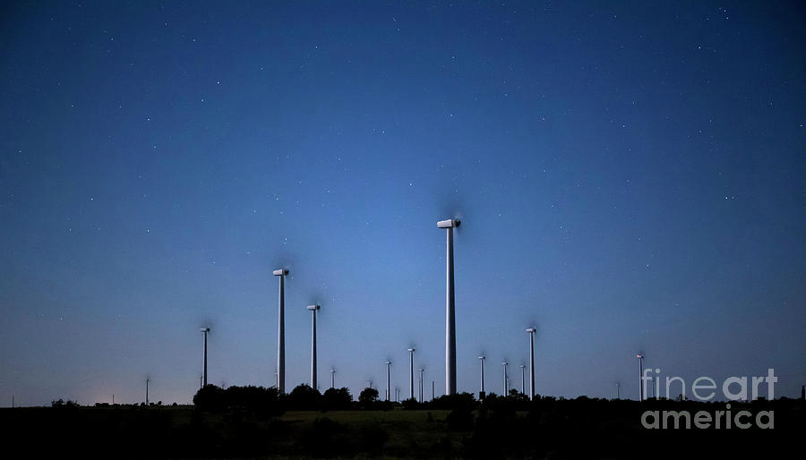 Wind Farm At Night Photograph