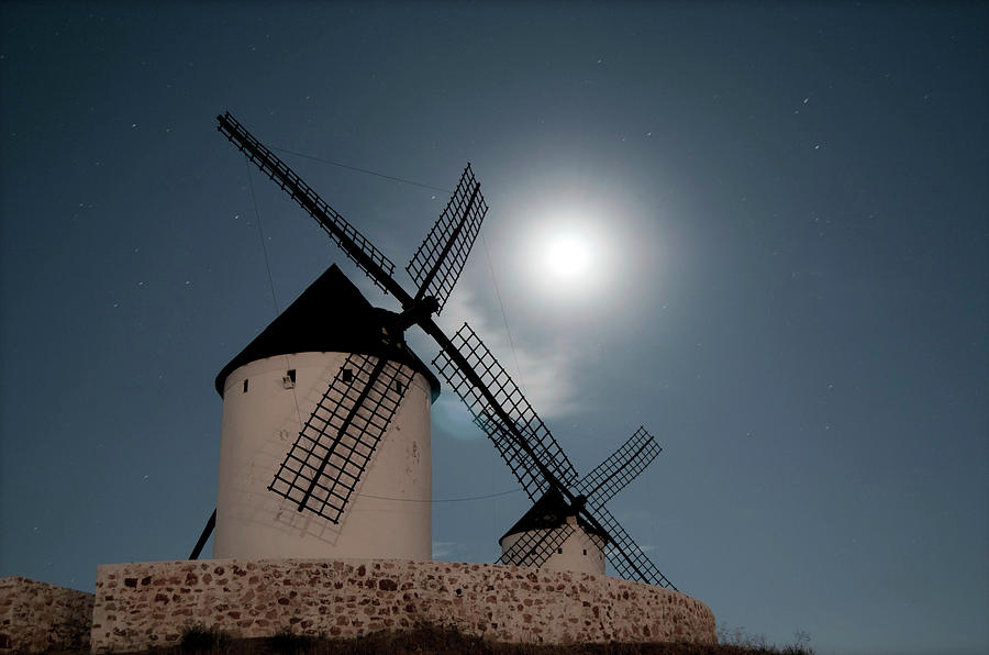 Wind Mills In Light Of Moon Photograph