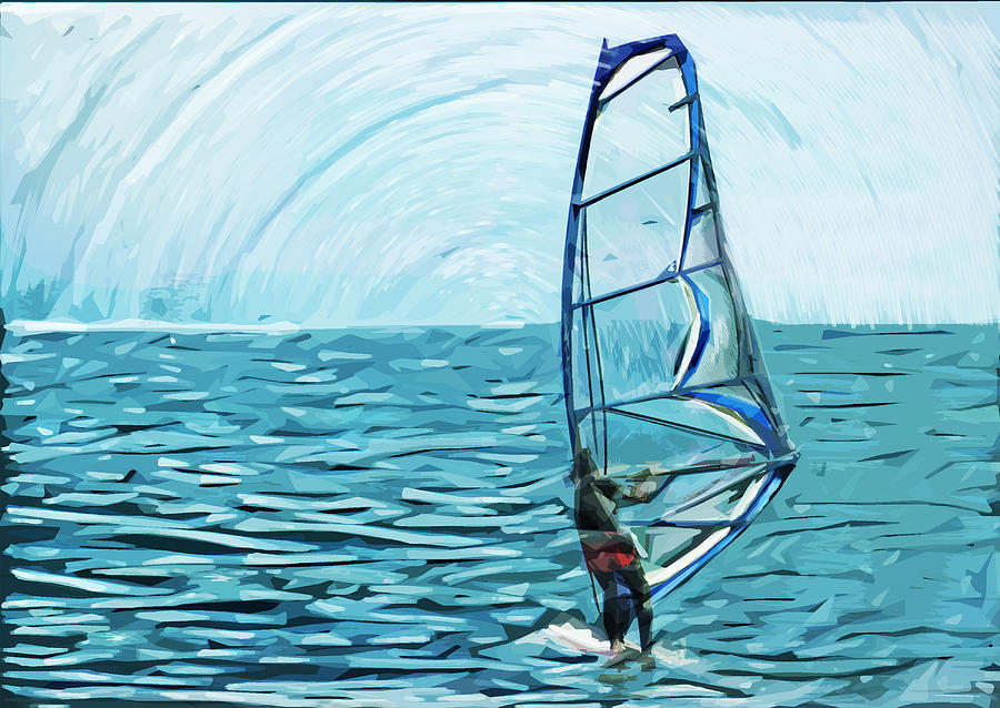 Wind Surfer Digital Art  - Wind Surfer Fine Art Print