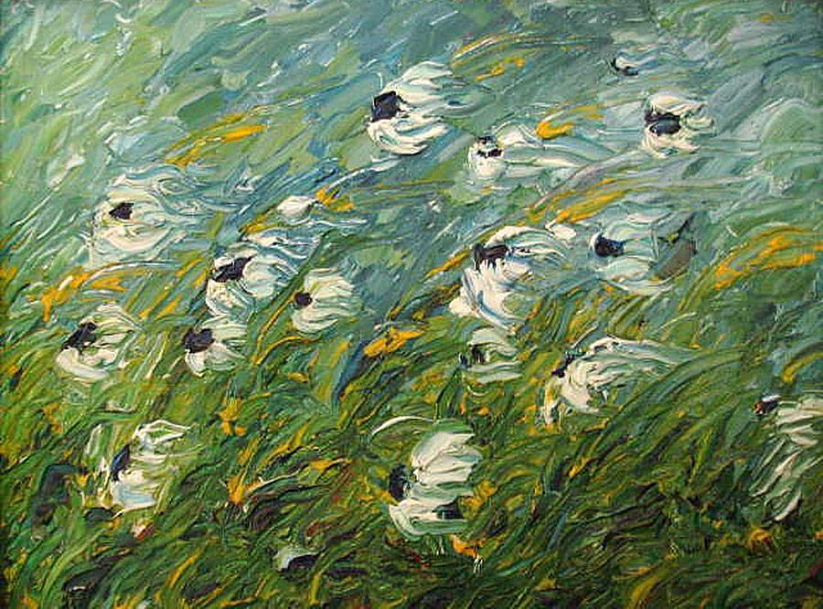 Wind Swept Daisies Painting