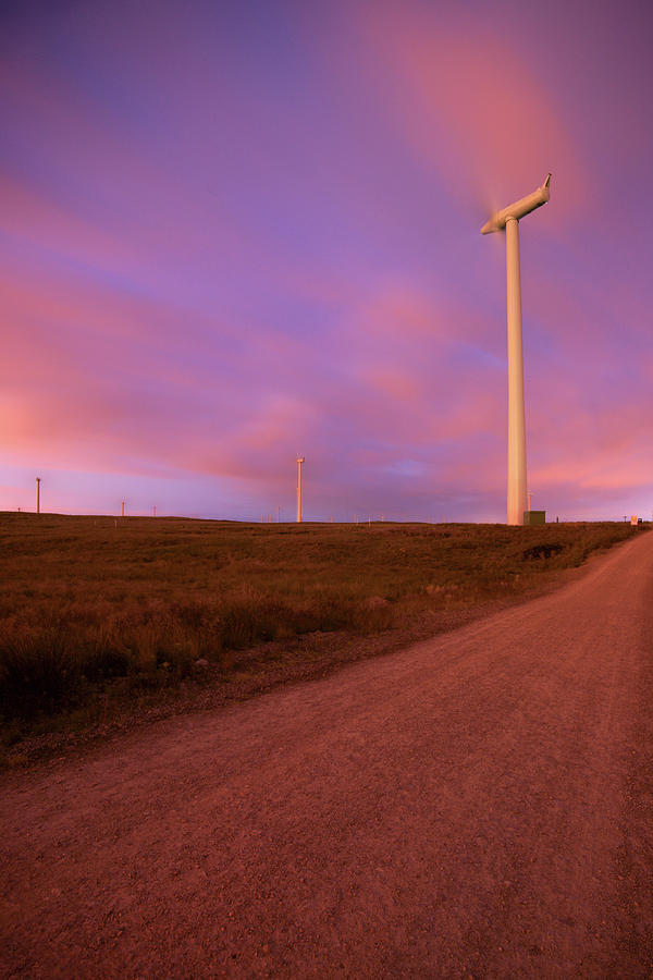 Wind Turbines At Night Photograph