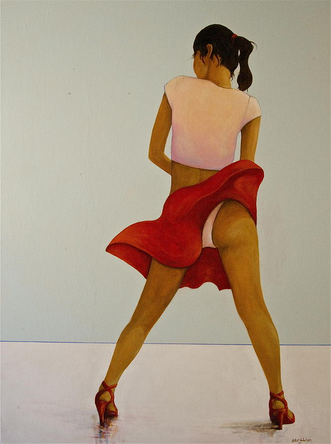 Wind Up Her Skirt Painting