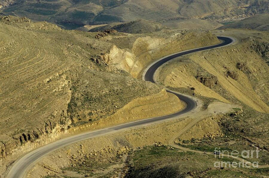Winding  King Road In Wadi Mujib Valley Photograph