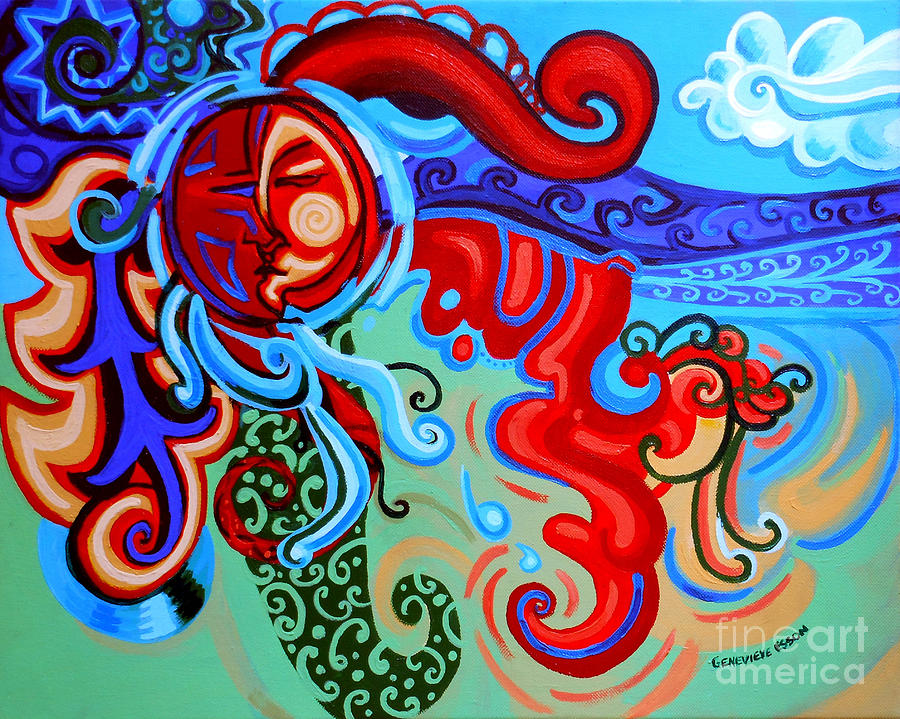 Winding Sun Painting - Winding Sun by Genevieve Esson