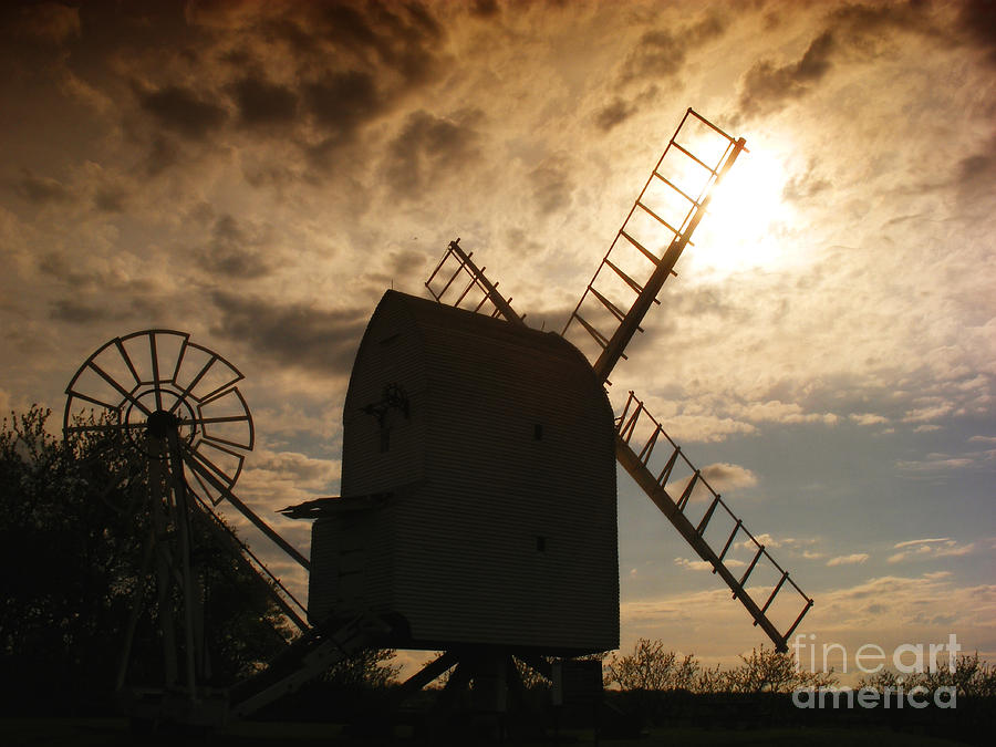 Windmill At Dusk  Photograph