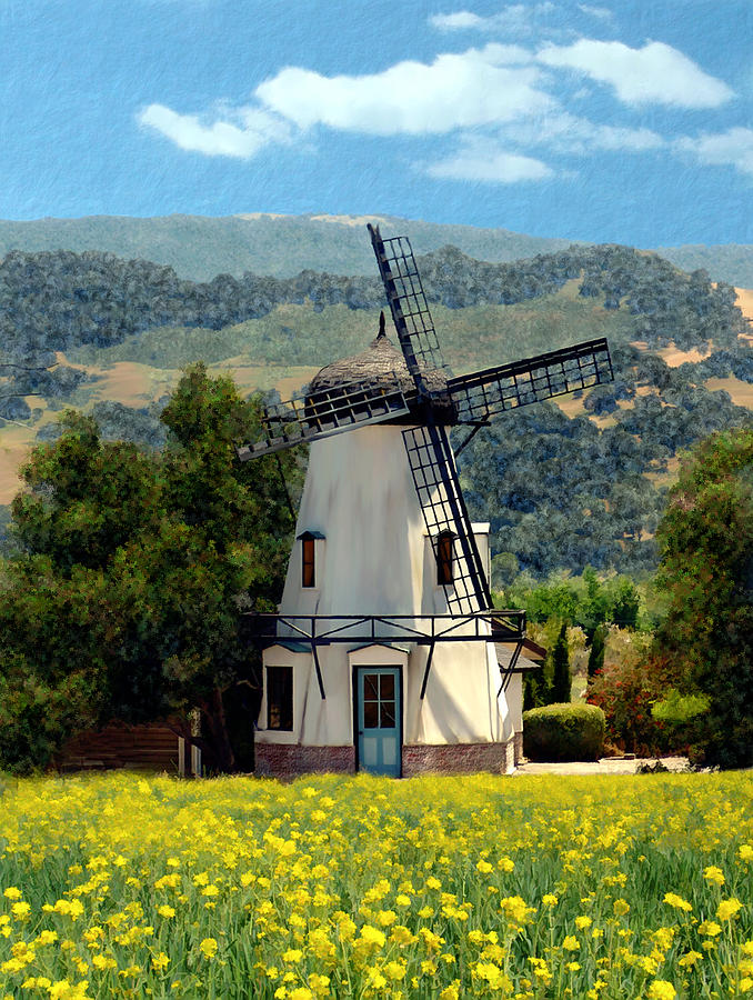Windmill At Mission Meadows Solvang Photograph