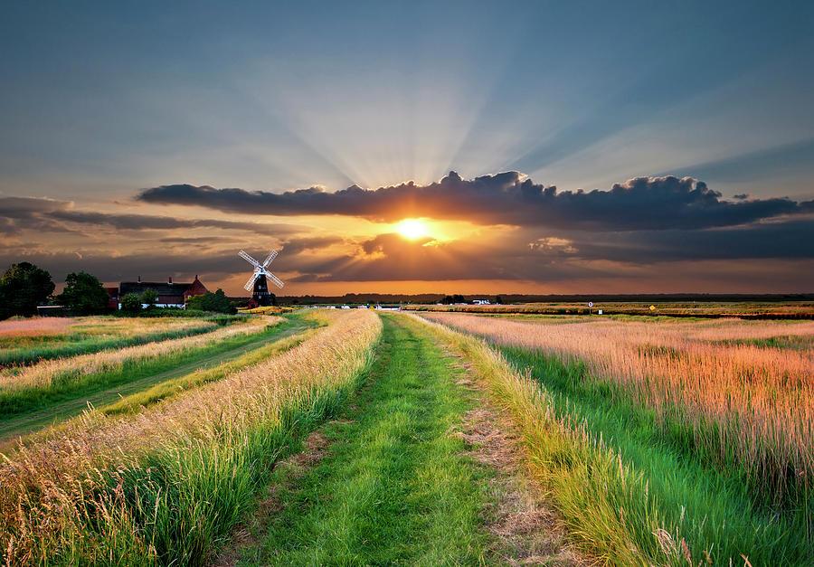 Windmill At Sunset Photograph