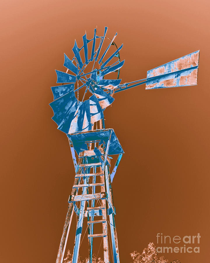 Windmill Blue Photograph  - Windmill Blue Fine Art Print
