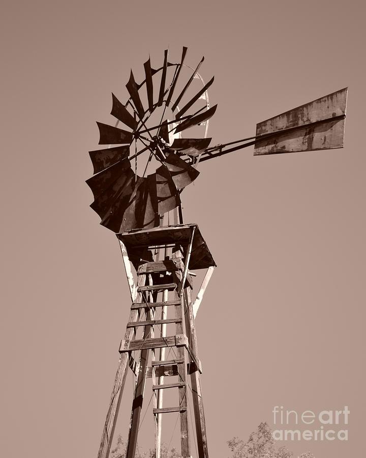 Windmill Sepia Photograph