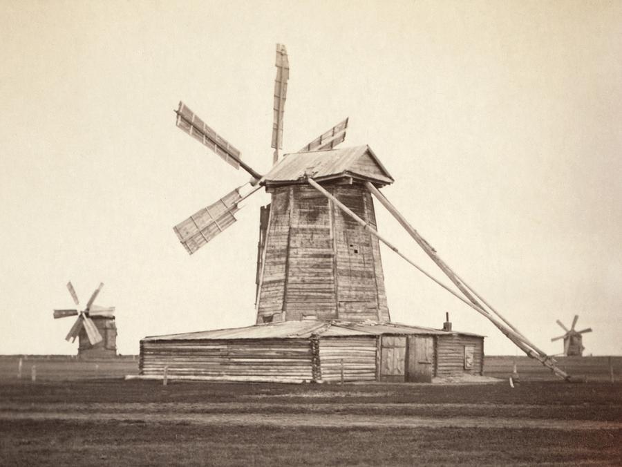 Windmills Near Omsk, Siberia Photograph