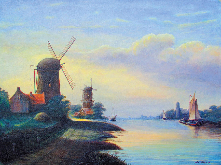 Windmills On The Rhine Painting
