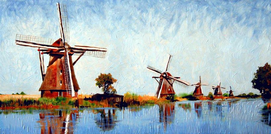 Windmills Painting by Paul De Haan Dutch Windmill Painting