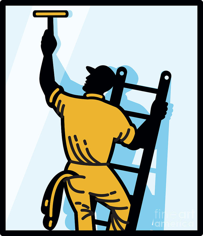 Window Cleaner Worker Cleaning Ladder Retro Digital Art
