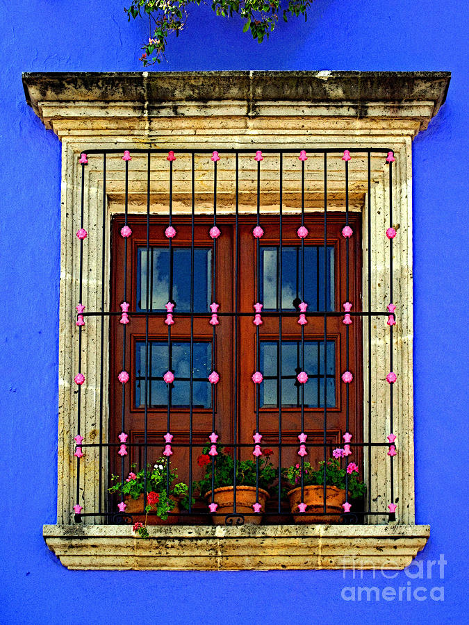 Window In Blue With Baubles Photograph  - Window In Blue With Baubles Fine Art Print