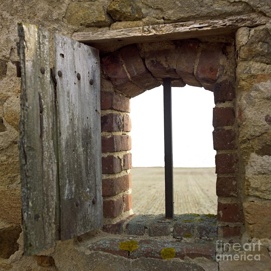 Window Of A Derelict House Overlooking Field Photograph  - Window Of A Derelict House Overlooking Field Fine Art Print