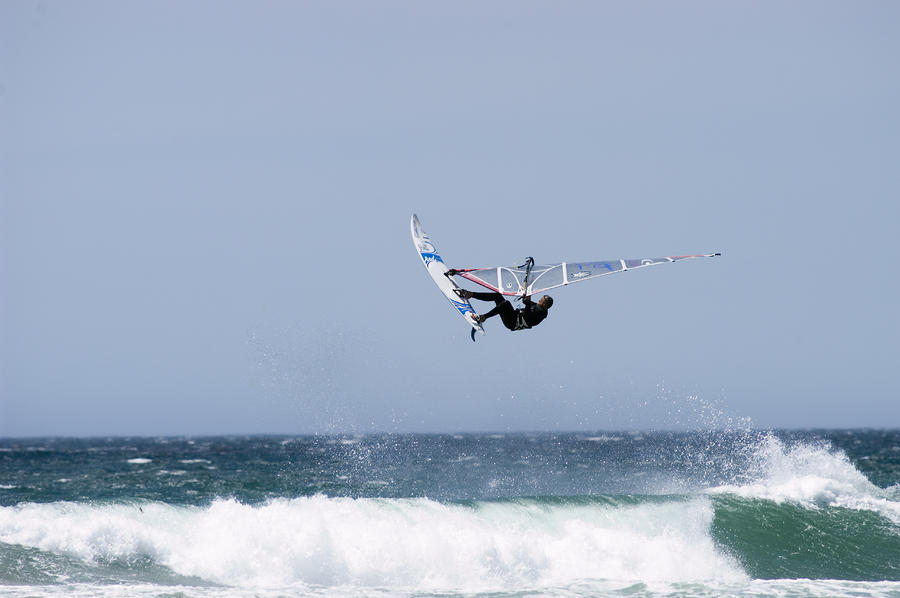 Windsurfer Jumping Waves At Jalama Photograph  - Windsurfer Jumping Waves At Jalama Fine Art Print