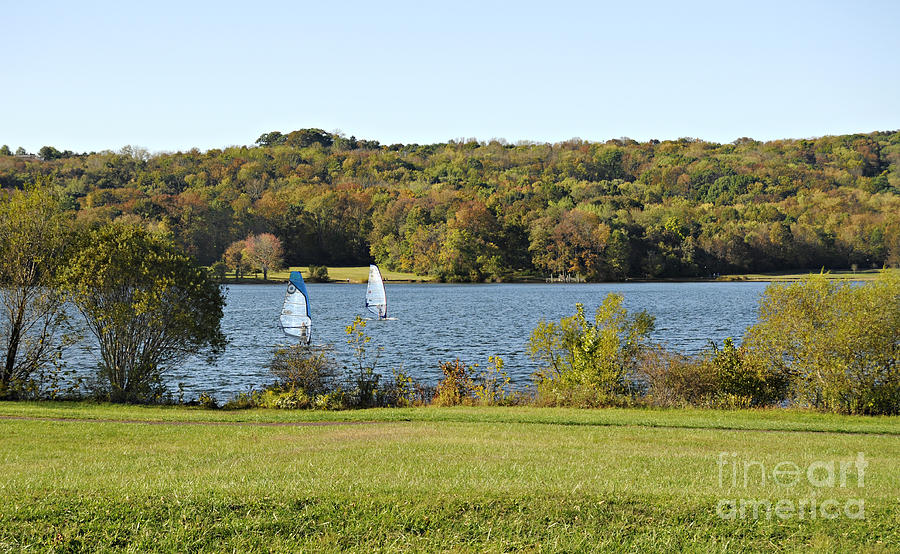 Windsurfing On Lake Galena Photograph  - Windsurfing On Lake Galena Fine Art Print