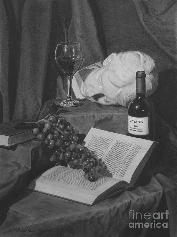 Wine And A Book Drawing  - Wine And A Book Fine Art Print