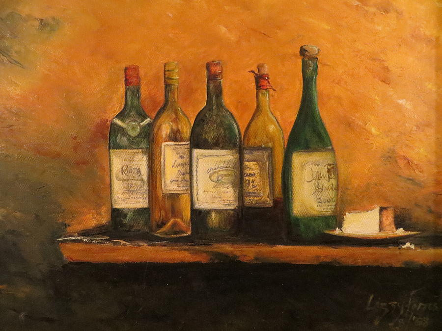 Wine And Cheese Painting by Lizzy Forrester Wine And Cheese Art
